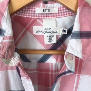 H&M Tops - H+M Pink White Blue Plaid Button Down Shirt